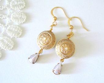 Gold Moroccan Earrings, Art Deco Dangle Earrings, Bohemian Earrings, Mosaic Jewelry, Gift for Her