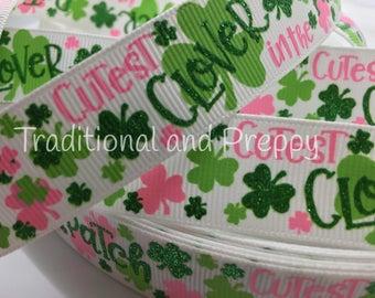 "3 yards 7/8"" St Patricks Day glitter cutest clover shamrock Irish glitter on White Grosgrain Ribbon"