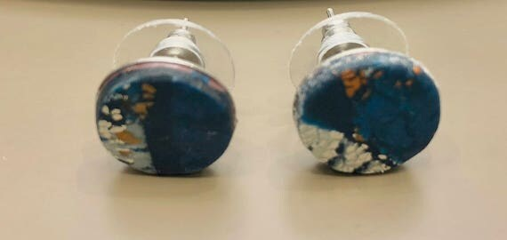Earrings - contemporary handmade blue/white/gold polymer clay silver color metal studs