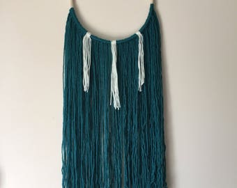 Teal & White Woven Wall Hanging