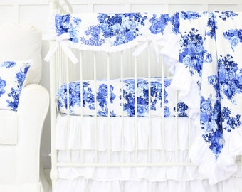 Juliet's Blue and White Floral Bumperless Baby Bedding | Floral Girl Crib Set | Blue and White Floral Scalloped Teething Guard