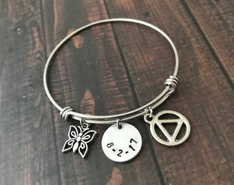 Stainless Steel Adjustable  Bangle BRACELET with AA Recovery Charm - Recovery Date, Initials, Short Motivational Word(s)