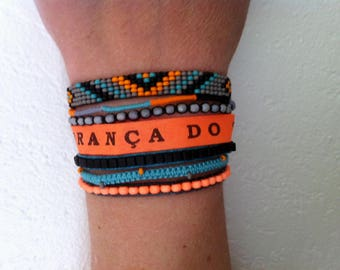 Brazilian Bahia Ribbon Cuff Bracelet, hand-made in France, 17 cm