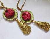 Romantic Art Nouveau earrings rose green Victorian earrings antique finish Art Deco jewellery 1920s bridal vintage style drop earrings