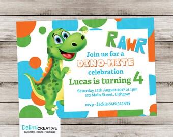 Dinosaur Invitation - RAWR Dinosaur Party Invitation - 4th Birthday Invitation - Cute Dinosaur Invitation - Print Yourself Invitation!