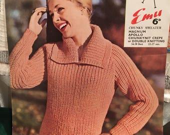 Vintage 1960s Emu Chunky Sweater Knitting Pattern-VGC