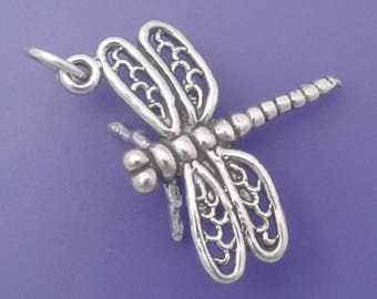 DRAGONFLY Charm .925 Sterling Silver Garden Insect Pendant - lp2684