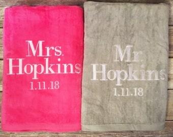 Mr Mrs Personalized Beach Towel Gift Set Monogrammed Wedding