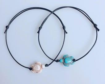 Turquoise Turtle Anklet,Turtle Bracelet,Adjustable Drawstring,Bohemian Anklet,Gypsy Anklet,Summer Anklet,Woman,Ladies Anklet,Girls Anklet