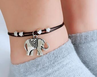 Elephant anklet, boho ankle bracelet, silver anklet. Perfect elephant gift by YEAHJOYjewelry. Good luck charm or animal lover gift.
