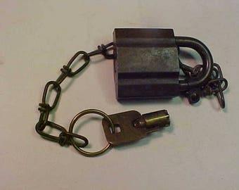 Vintage Military Padlock Lock Brass Tubular High Security by Dynalok w/Key and Chain  U.S. Set