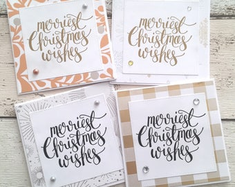 4 Handmade Rose Gold Silver 'Merry Christmas Wishes' Cards Note Cards for Festive Occasion With Envelope