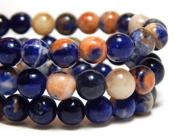 6mm Orange Sodalite, 6mm Blue Beads, Sodalite Beads, Blue Beads, Blue Gemstones, Sodalite Gemstone Beads, Round Gemstone Beads,  B-34C