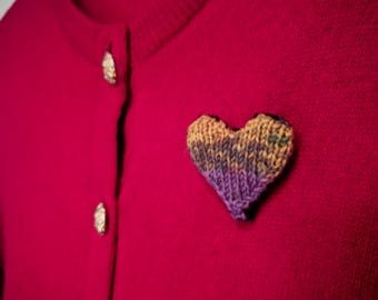 Knitted  Plush Heart Brooch
