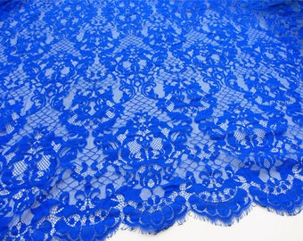 cobalt blue lace fabric,eyelash lace fabric for dress,Blue Dress Chantilly lace