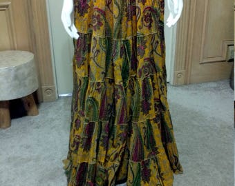 Woven Cotton India Banjara Rufled Skirt/Strapless dress, Ethnic, Bohemian, Folk, Tribal, Gypsy, Belly Dancing, Festival Wear Skirt S/M