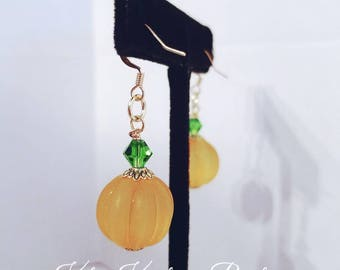 Pumpkin Earrings/Pumpkin Frosted Earrings