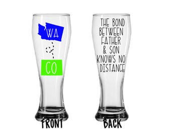 Custom Father Son Bond Long Distance States Father's Day Gift Pilsner Bar Glass