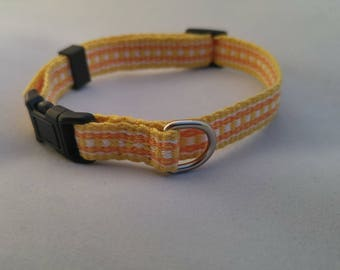 Cat Collar - Handwoven; Adjustable; Breakaway safety buckle; Bright yellow; Optional tag