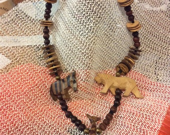 Vintage wooden animal necklace