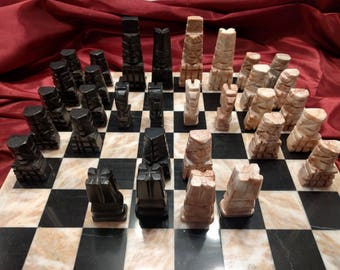 Vintage carved Stone Chess Set