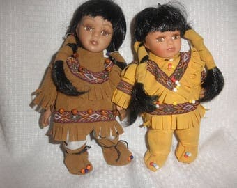 Native American Indian Dolls in Beautiful Faux Suede Clothes