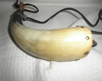 Vtg Powder Horn with Wood and Leather Straps for Carrying