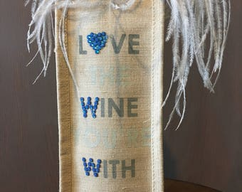 Wine Bag with Swarovski Rhinestones; Love the Wine You're With