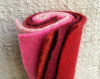 "Recycled Felt 5 Sqauares of 6 x 6 "" in Pink, Red Cashmere and Wool for Craft"