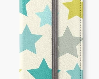 Folio Wallet Case for iPhone 8 Plus, iPhone 8, iPhone 7, iPhone 6 Plus, iPhone SE, iPhone 6, iPhone 5s -  Blue, Green & Grey Star Pattern