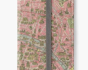 Folio Wallet Case for iPhone 8 Plus, iPhone 8, iPhone 7, iPhone 6 Plus, iPhone SE, iPhone 6, iPhone 5s - Vintage Paris street map case