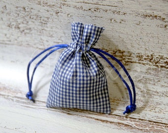 Royal blue gingham country fabric bag 3x4 inch set of 6 cloth favor bags