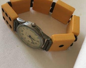 Vintage Bakelite Band Watch.Medium to Large.Watch needs Battery.Bakelite Dominos.