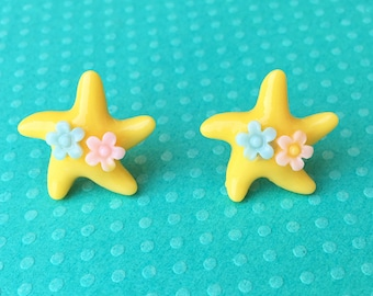 "Under The Sea Collection ""Sea Star Sweetheart"" Yellow Mermaid Starfish Earrings with Pink and Blue Flowers"