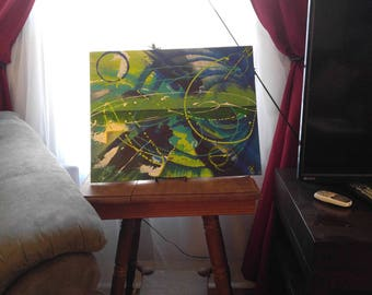Abstract Painting on Canvas Board, Home Décor Wall Art – 'Tangent' Acrylic Painting by Kenneth Polisse Jr.