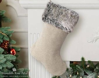 Linen Christmas Stocking, Linen Christmas, Linen Stocking, Fur Christmas Stocking, Fur Stocking, Faux Fur Christmas Stocking, Faux Fur