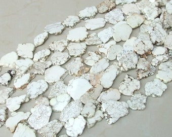 White Magnesite Slab Stone Beads -  Large Free Form - Bone White with Heavy Black Veining - 30mm x 40mm - 15 inch strand