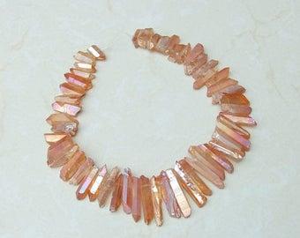 Peach Rose, Titanium Quartz, Titanium Crystal, Titanium Quartz Beads, Titanium Beads, Quartz Point - Full strand - 22 mm - 40 mm - 3642