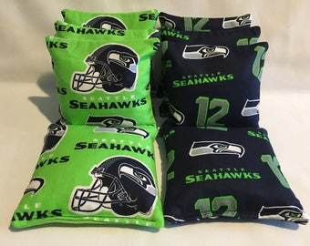 SEATTLE SEAHAWKS 12Th Man 8 Cornhole Bags Bean Toss Bago 4 Of Each Print 2 Sides