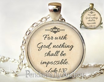 Christian jewelry, Christian pendant,Christian necklace,Christian Necklace,For with God nothing is impossible,Bible,Verse,Gift,Quote