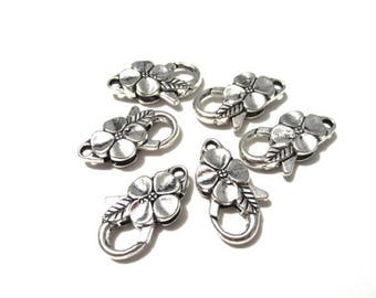 50% OFF Clearance Sale-- Antique Silver Large Flower Lobster Claw Clasps 25x14mm