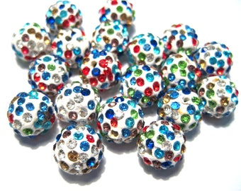 10pcs Colorful Polymer Clay Rhinestone Beads Pave Disco Ball Beads - Grade A 12mm