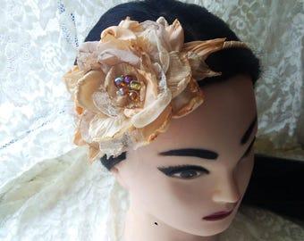 Beige Flower Headband, Rose Flower Tiara, Big Flower Headband, Flower Girl Crone, Floral Girl Headband, Chiffon Headband, Floral Fabric Rose