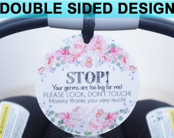 Girl Preemie sign, newborn, baby car seat tag, baby shower gift, stroller tag, Preemie no touching baby car seat sign- PLASTIC TAG