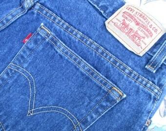 Sz 14S Vintage Levis 550 Jeans Dark Wash High Waist Loose Fit Tapered Leg Mom Jeans