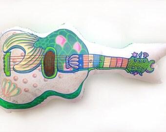 Guitar pillow, rock pillow, cushion guitar Mermaid, Mermaid deco, seapunk, original gift, graffiti, pop, children's room, urban