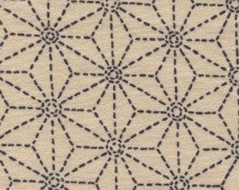Fabric - Sevenberry beige stitched star print - medium weight woven cotton