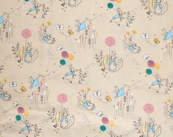 Fabric - Peter rabbit - Flower balloons  - cream - cotton print.
