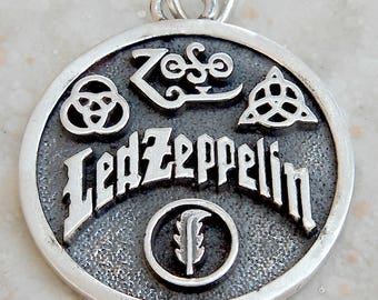 Led Zeppelin Swan Song Zoso 4 symbols 3D Pendant Solid Sterling Silver 925