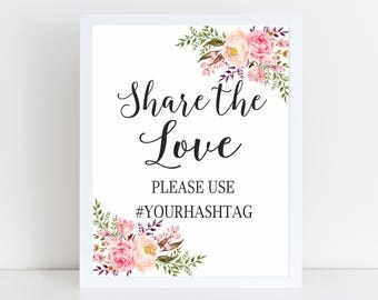 Share the Love Hashtag Sign, Wedding Sign, Wedding Signage, Instagram Wedding, Social Media Signs, Wedding Hashtag Sign, Printable Sign, GW